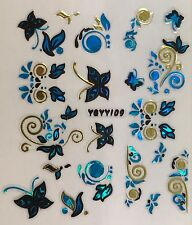 Nail Art 3D Decal Stickers Butterfly & Swirls - Blue, Gold & Black YGYY109