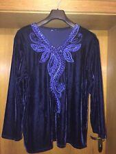 Schönes Damen Oberteil von JIAYI Langarm Shirt mit Stickerei Gr.42/L Schwarzblau