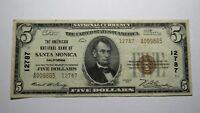 $5 1929 Santa Monica California CA National Currency Bank Note Bill Ch #12787 VF