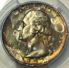 1953 S PCGS MS66 Gold Shield RAINBOW TONED Silver Washington Quarter 25c