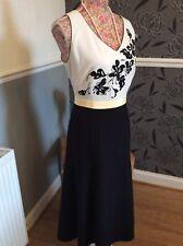 Jacques Vert Black/white/lemon Dress S14 Jacket  Wool Eastex Size 16 Immac  Hols