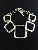 Vintage Sterling Silver Bracelet Square Open Panel Links Toggle Clasp Mexico 925