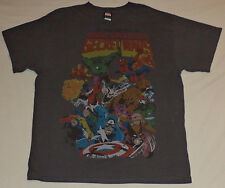 "Marvel Short Sleeve Gray T-Shirt ""Marvel Super Heroes"" on Front    L      K#9340"