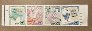 #2201b Stamp Collecting Booklet Pane of 4 22¢, With Booklet Cover, MISSING BLACK