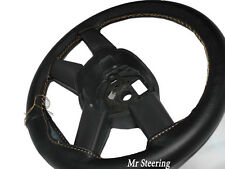 FOR MERCEDES SPRINTER MK1 95-03 BLACK LEATHER STEERING WHEEL COVER BEIGE STITCH