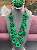 Vintage Bohemian Green Brown Wood Beaded Multi Strand Necklace Bracelet Set