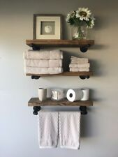 "8"" Deep Industrial Floating Shelves w/Towel Bar, Rustic (set of 3 Shelves)"