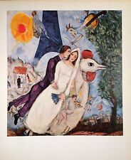MARC CHAGALL HAND SIGNED * THE BRIDE AND GROOM OF THE EIFFEL TOWER * COLOR PLATE