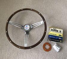 Original 1969 CS Shelby Autosport wood steering wheel used w/ center horn emblem