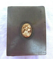 ANTIQUE / VINTAGE  PEWTER / METAL Box STAMP BOX  SNUFFBOX , INSET CAMEO ON LID