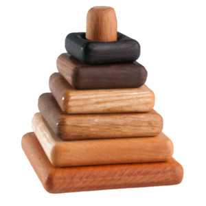 Wooden stacking toy in square shape from 6 types of wood