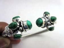Silver Plated Malachite Beautiful Adjustable Bangle cuff