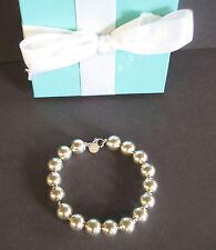 "Tiffany & Co Sterling Silver 10mm Ball Bead Bracelet 7 1/2"" Box Pouch"