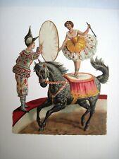 Delightful 1800's Die Cut w/ Circus Clown & Woman Performer On a Horse  *