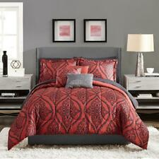 Mainstays Red and Black Damask Bed in a Bag Queen Bedding Set