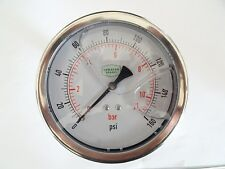 """0-160 psi 100 mm Glycerine Filled Pressure Gauge 1/4"""" Back Entry"""