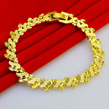 Heart Leaf Link Bracelet Chain Bangle Women's Solid Real 24k Yellow Gold Filled