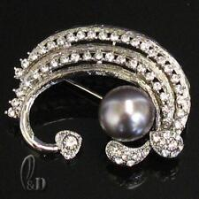 AU SELLER Lovely Made With Swarovski Crystal & Pearl Large Brooch br022-4