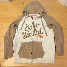 Ecko Unlimited Zip Up Hoody Size XL Tan Cream Orange World Famous Rhino Brand