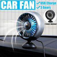 3 Speeds Mini 5W Air Vent 5V USB Car Fan Light Dashboard Cooling Cooler  ✔