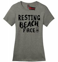 Resting Beach Face Ladies Soft T Shirt Funny Beach Pineapple Graphic Tee Z4
