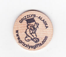 ALASKA GRIZZLY'S GIFT SHOP WOODEN NICKEL NEW