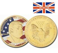 Donald Trump Coin USA President Gold Plated Eagle Liberty Souvenir With Capsule