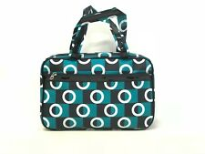 Cosmetic Bag - Teal, Black, and White Circle Pattern (Gm-8-Tote)