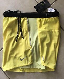 $75 NEW Nike Men's Flex Swift 2 In 1 Yellow CJ9708-731 Hybrid Running Shorts L