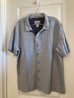 Carbon 2 Cobalt Mens Gray Short Sleeve Button Up Flannel Shirt Size Large