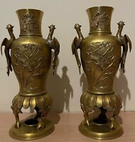 Pair Of Antique Japanese Bronze Koro Meiji Period