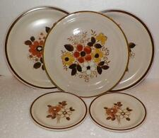 Vtg WOODHAVEN Stoneware 5pc.Dinner & Salad Plates PLEASANT GROVE + LINDA  N.O.S