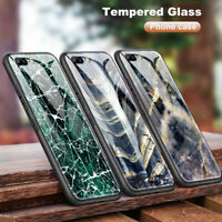 For Oneplus 3 5T 6T 7 Marble Cover Tempered Glass Case for iPhone 5S 6S 7 8 XR