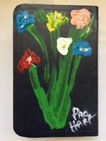 Pro Hart - Original Flower Painting on Bible - Signed by artist in 1987