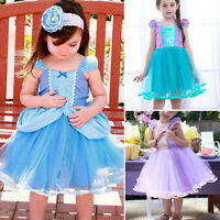 Girls Princess Cinderella Ariel Cosplay Costume Tutu Dress Kids Halloween Dress