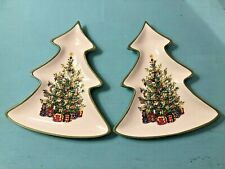 Set 2 Christmas Tree-Shaped Candy Dish/Plates Holiday Party Serving Decoration