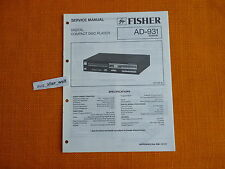 SERVICE MANUAL Fisher AD 931 english Service Anleitung