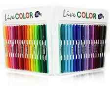 36 Assorted color Monami Twin Tip Brush Fiber Art Markers Fine Tip Line Pens