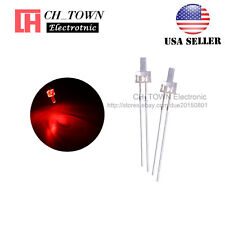 100pcs 2mm LED Diodes Water Clear Red Light Flat Top Transparent USA