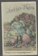 MB7264 EASTER SPRING VICTORIAN GIRL WITH BIG COLORED  EASTER EGGS