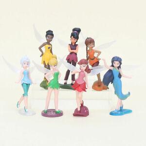 7pcs Tinkerbell PVC Figures Fairy Princess Birthday Cake Toppers Figurine Toys