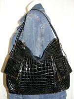 MICHAEL KORS Purse Black CROC Embossed Patent Leather Tote Shoulder Bag Handbag