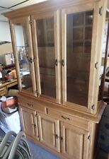 Art Van Oak China Cabinet with Glass Doors & Lighted Top - PICK-UP in MI