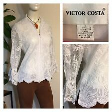 Victor Costa Vintage White Shrug Cover Jacket Top Lace Balloon Sleeves Sz 4 EUC