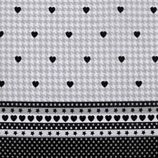 Cotton Fabric Hounds-tooth Hearts Dots 1 M X 140 Cm Craft Quilting Patchwork Sew 1 Metre Grey and Black