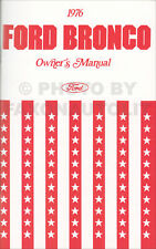 1976 Ford Bronco Owners Manual Owner User Instruction Guide Book