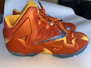 """Nike LEBRON XI 11 PREHEAT """"FORGING IRON""""ORANGE 626376-800 Size 11"""