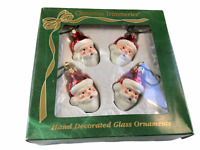 Bradford Christmas Trimmeries 4 Red Santa Heads Hand Decorated Glass Ornaments