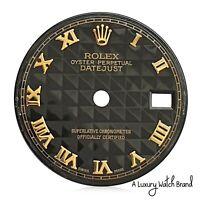 Rolex Original Black Pyramid Roman Numeral Dial for Datejust 26mm Watch