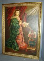 Antique Colonial Cuzco School Madonna Virgin With Book Oil Painting Signed 1800